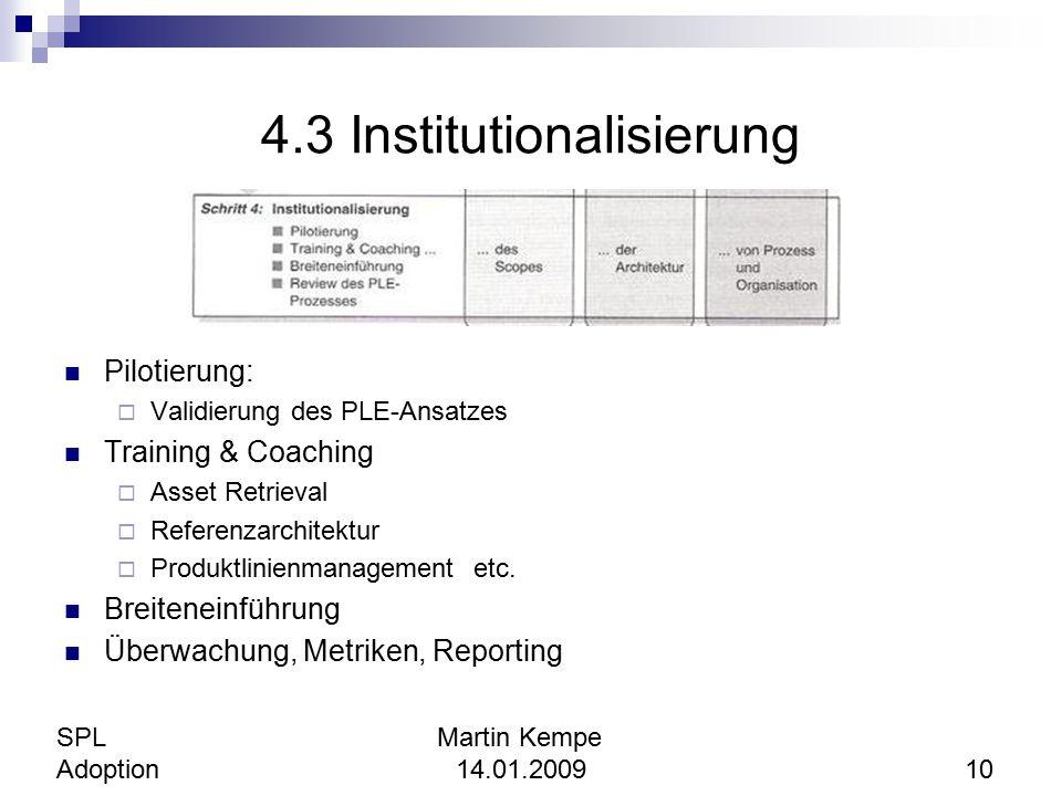 4.3 Institutionalisierung Pilotierung:  Validierung des PLE-Ansatzes Training & Coaching  Asset Retrieval  Referenzarchitektur  Produktlinienmanag