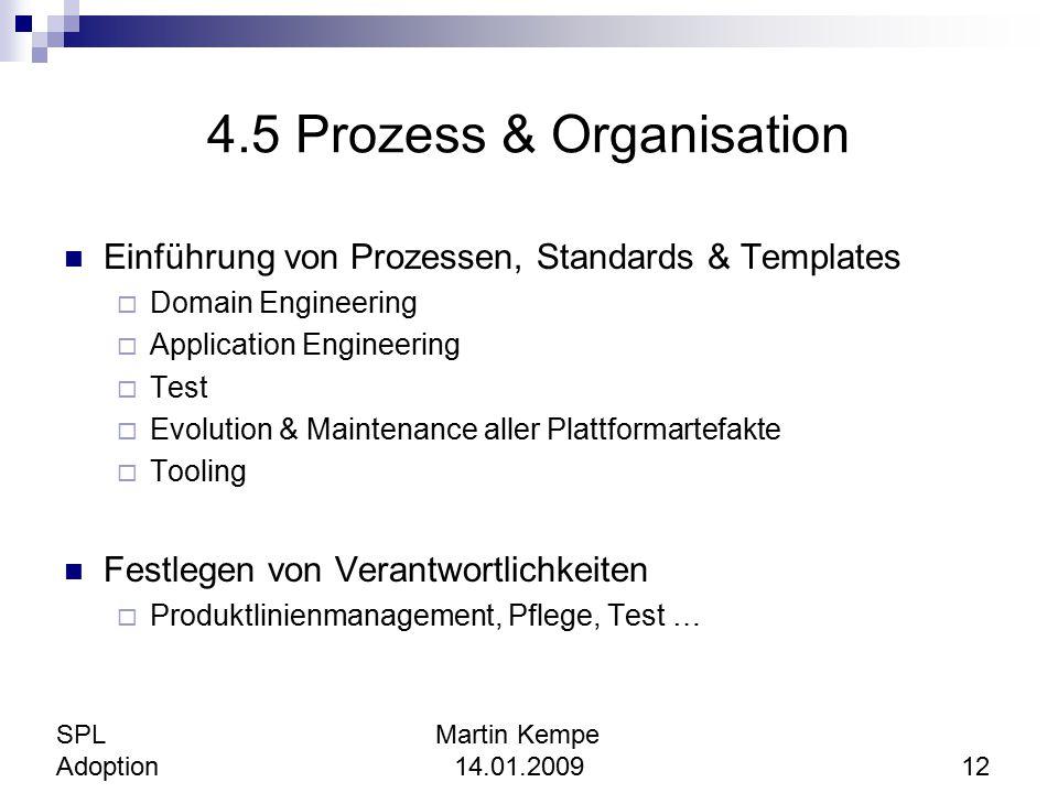 4.5 Prozess & Organisation Einführung von Prozessen, Standards & Templates  Domain Engineering  Application Engineering  Test  Evolution & Mainten