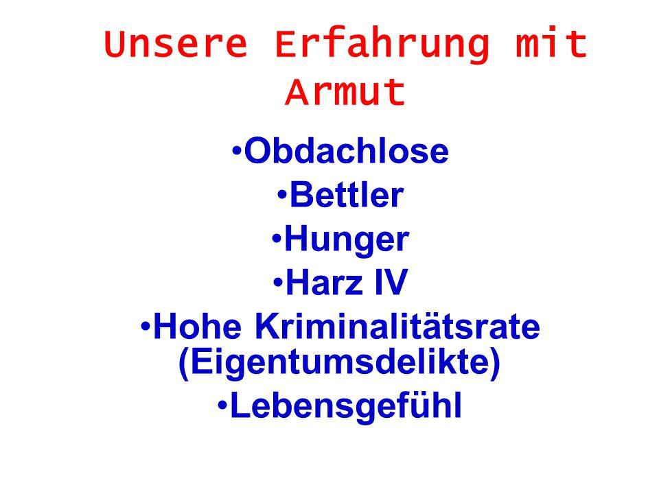 Unsere Erfahrung mit Armut Obdachlose Bettler Hunger Harz IV Hohe Kriminalitätsrate (Eigentumsdelikte) Lebensgefühl