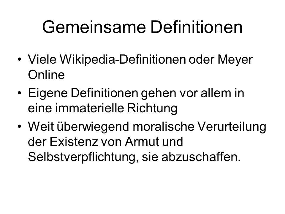 Gemeinsame Definitionen Viele Wikipedia-Definitionen oder Meyer Online Eigene Definitionen gehen vor allem in eine immaterielle Richtung Weit überwieg