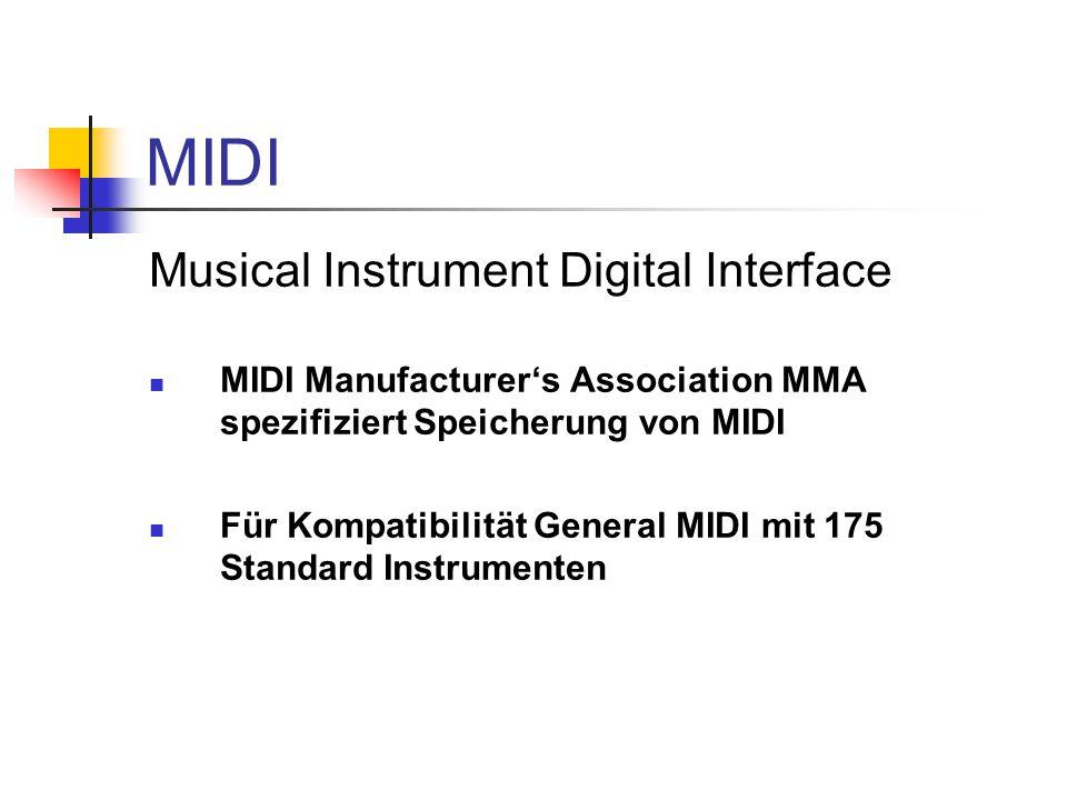 MIDI Musical Instrument Digital Interface MIDI Manufacturer's Association MMA spezifiziert Speicherung von MIDI Für Kompatibilität General MIDI mit 175 Standard Instrumenten