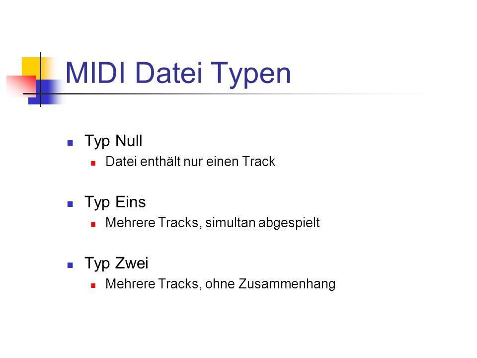 MIDI Datei Typen Typ Null Datei enthält nur einen Track Typ Eins Mehrere Tracks, simultan abgespielt Typ Zwei Mehrere Tracks, ohne Zusammenhang