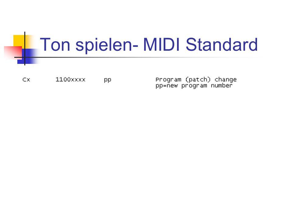 Ton spielen- MIDI Standard