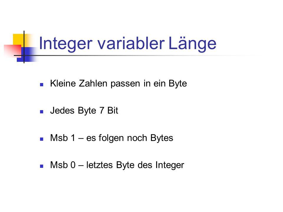 Integer variabler Länge Kleine Zahlen passen in ein Byte Jedes Byte 7 Bit Msb 1 – es folgen noch Bytes Msb 0 – letztes Byte des Integer