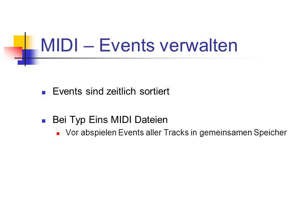 MIDI – Events verwalten Events sind zeitlich sortiert Bei Typ Eins MIDI Dateien Vor abspielen Events aller Tracks in gemeinsamen Speicher
