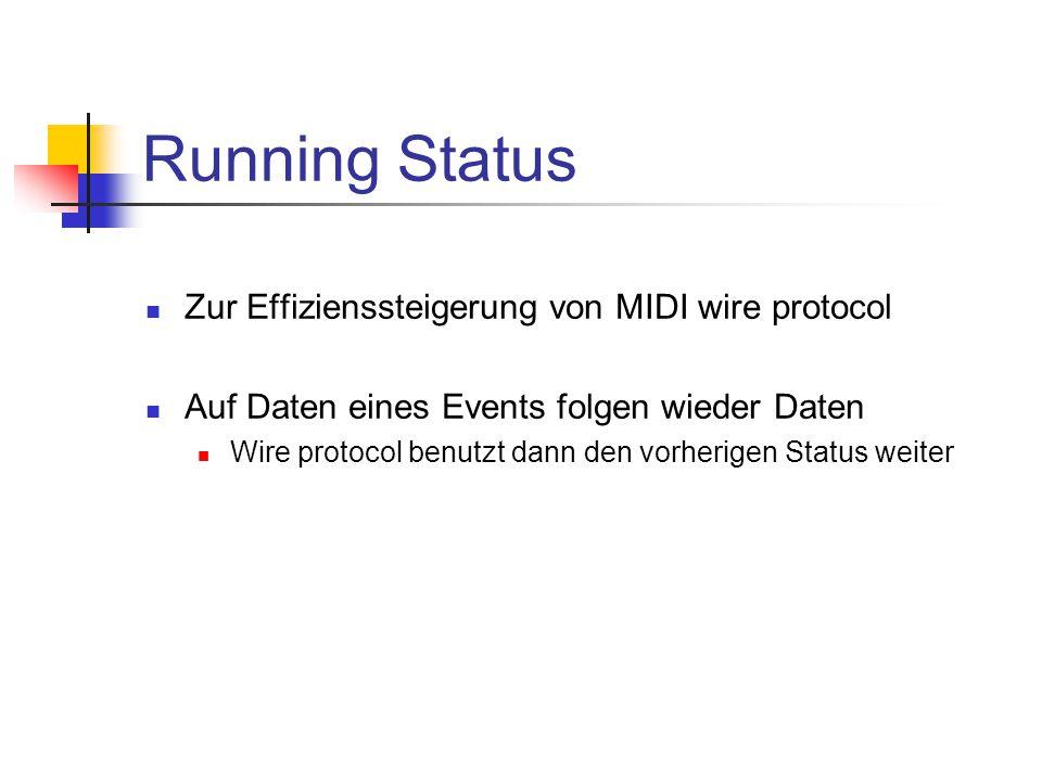 Running Status Zur Effizienssteigerung von MIDI wire protocol Auf Daten eines Events folgen wieder Daten Wire protocol benutzt dann den vorherigen Status weiter