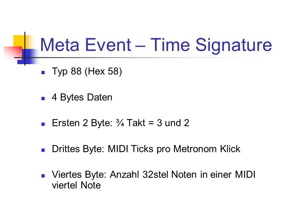 Meta Event – Time Signature Typ 88 (Hex 58) 4 Bytes Daten Ersten 2 Byte: ¾ Takt = 3 und 2 Drittes Byte: MIDI Ticks pro Metronom Klick Viertes Byte: Anzahl 32stel Noten in einer MIDI viertel Note