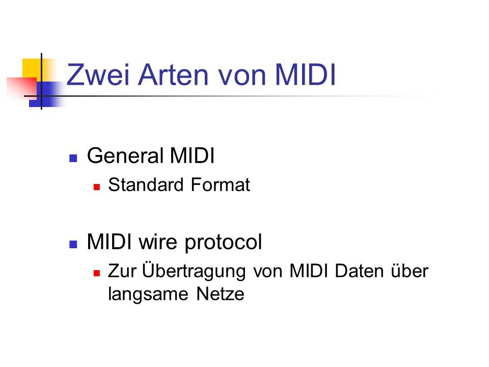 Zwei Arten von MIDI General MIDI Standard Format MIDI wire protocol Zur Übertragung von MIDI Daten über langsame Netze