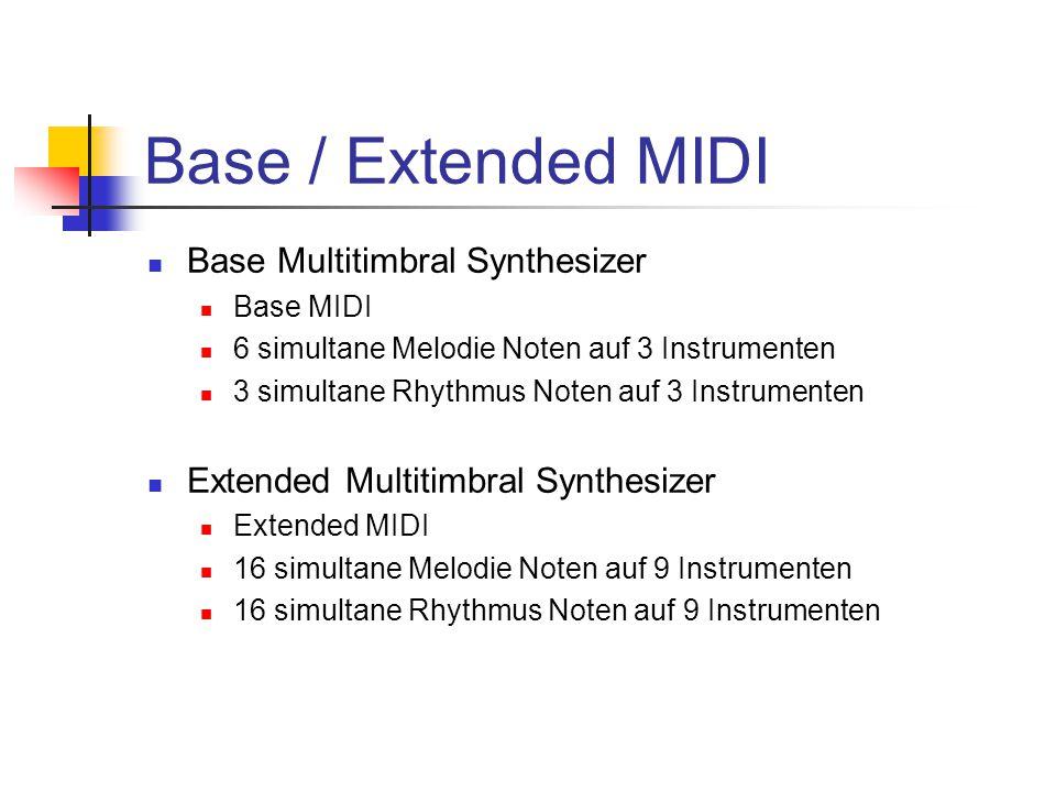 Base / Extended MIDI Base Multitimbral Synthesizer Base MIDI 6 simultane Melodie Noten auf 3 Instrumenten 3 simultane Rhythmus Noten auf 3 Instrumenten Extended Multitimbral Synthesizer Extended MIDI 16 simultane Melodie Noten auf 9 Instrumenten 16 simultane Rhythmus Noten auf 9 Instrumenten
