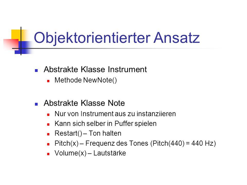 Objektorientierter Ansatz Abstrakte Klasse Instrument Methode NewNote() Abstrakte Klasse Note Nur von Instrument aus zu instanziieren Kann sich selber in Puffer spielen Restart() – Ton halten Pitch(x) – Frequenz des Tones (Pitch(440) = 440 Hz) Volume(x) – Lautstärke
