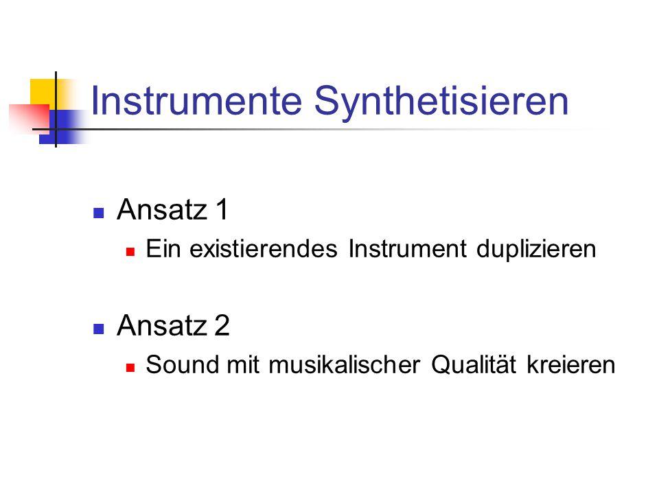 Instrumente Synthetisieren Ansatz 1 Ein existierendes Instrument duplizieren Ansatz 2 Sound mit musikalischer Qualität kreieren