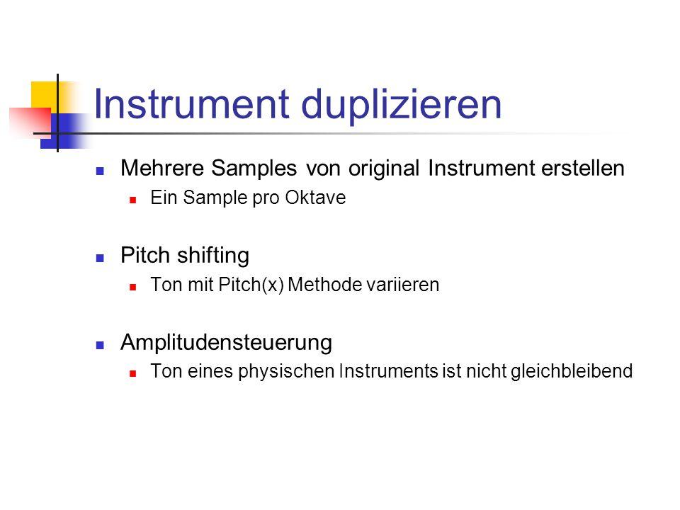 Instrument duplizieren Mehrere Samples von original Instrument erstellen Ein Sample pro Oktave Pitch shifting Ton mit Pitch(x) Methode variieren Amplitudensteuerung Ton eines physischen Instruments ist nicht gleichbleibend