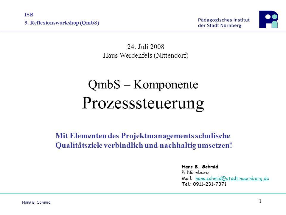 ISB 3. Reflexionsworkshop (QmbS) Hans B. Schmid 1 QmbS – Komponente Prozesssteuerung Mit Elementen des Projektmanagements schulische Qualitätsziele ve