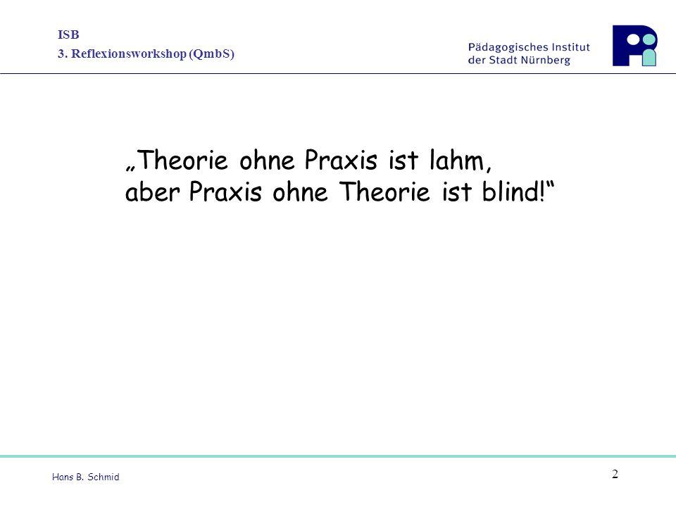 "ISB 3. Reflexionsworkshop (QmbS) Hans B. Schmid 2 ""Theorie ohne Praxis ist lahm, aber Praxis ohne Theorie ist blind!"""