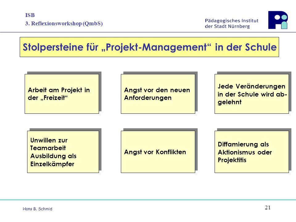 """ISB 3. Reflexionsworkshop (QmbS) Hans B. Schmid 21 Stolpersteine für """"Projekt-Management"""" in der Schule Arbeit am Projekt in der """"Freizeit"""" Arbeit am"""