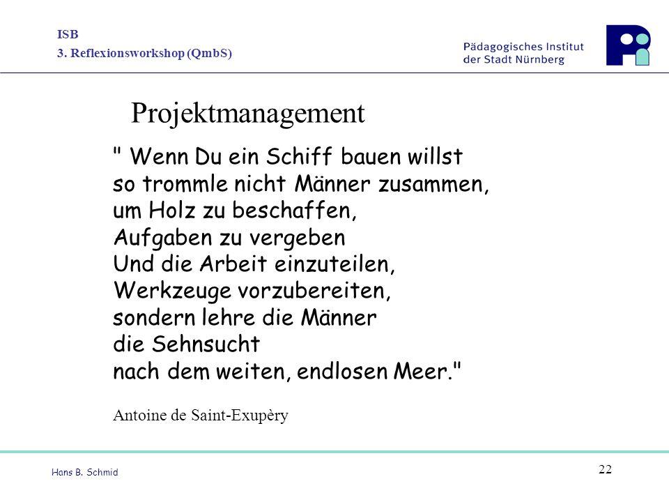 ISB 3. Reflexionsworkshop (QmbS) Hans B. Schmid 22 Projektmanagement