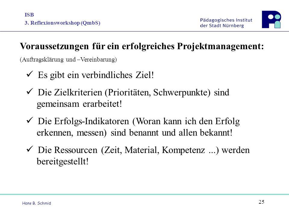 ISB 3. Reflexionsworkshop (QmbS) Hans B. Schmid 25 Voraussetzungen für ein erfolgreiches Projektmanagement: (Auftragsklärung und –Vereinbarung) Es gib