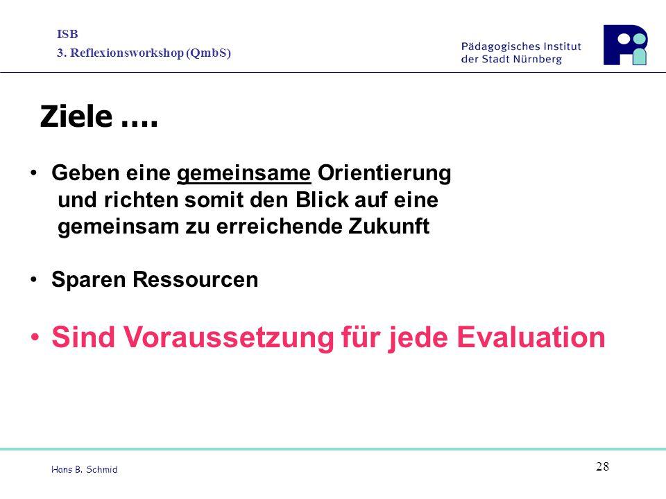 ISB 3. Reflexionsworkshop (QmbS) Hans B. Schmid 28 Geben eine gemeinsame Orientierung und richten somit den Blick auf eine gemeinsam zu erreichende Zu