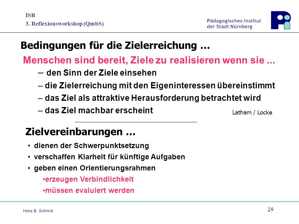 ISB 3. Reflexionsworkshop (QmbS) Hans B. Schmid 29 Menschen sind bereit, Ziele zu realisieren wenn sie... – den Sinn der Ziele einsehen – die Zielerre