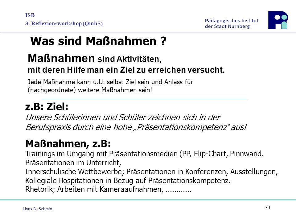 ISB 3. Reflexionsworkshop (QmbS) Hans B. Schmid 31 Maßnahmen sind Aktivitäten, mit deren Hilfe man ein Ziel zu erreichen versucht. Jede Maßnahme kann