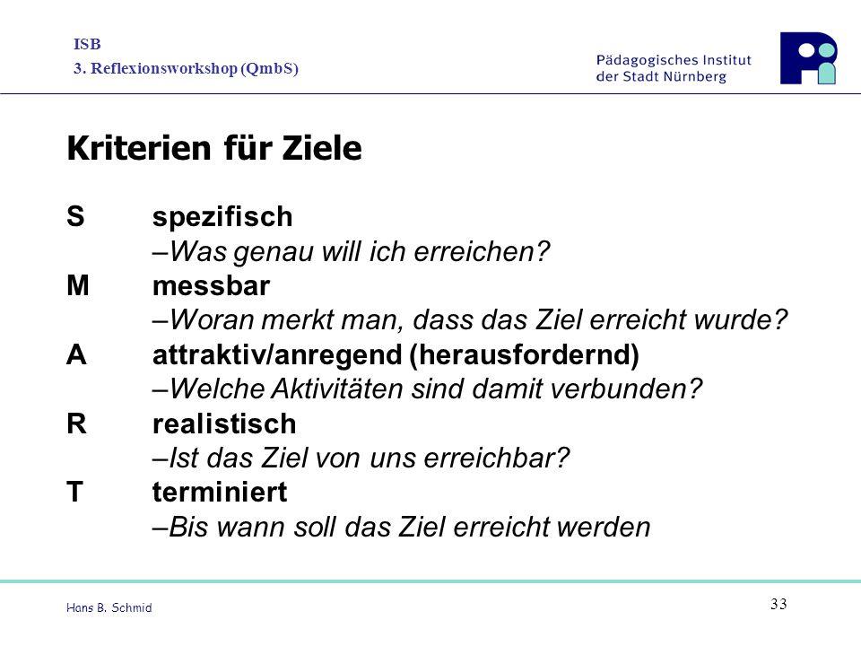 ISB 3. Reflexionsworkshop (QmbS) Hans B. Schmid 33 Sspezifisch –Was genau will ich erreichen? Mmessbar –Woran merkt man, dass das Ziel erreicht wurde?