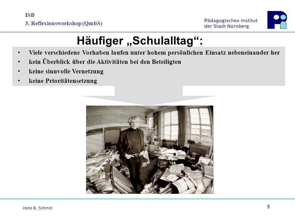 """ISB 3. Reflexionsworkshop (QmbS) Hans B. Schmid 8 Häufiger """"Schulalltag"""": Viele verschiedene Vorhaben laufen unter hohem persönlichen Einsatz nebenein"""