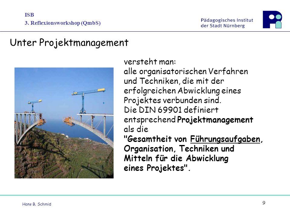 ISB 3. Reflexionsworkshop (QmbS) Hans B. Schmid 9 versteht man: alle organisatorischen Verfahren und Techniken, die mit der erfolgreichen Abwicklung e