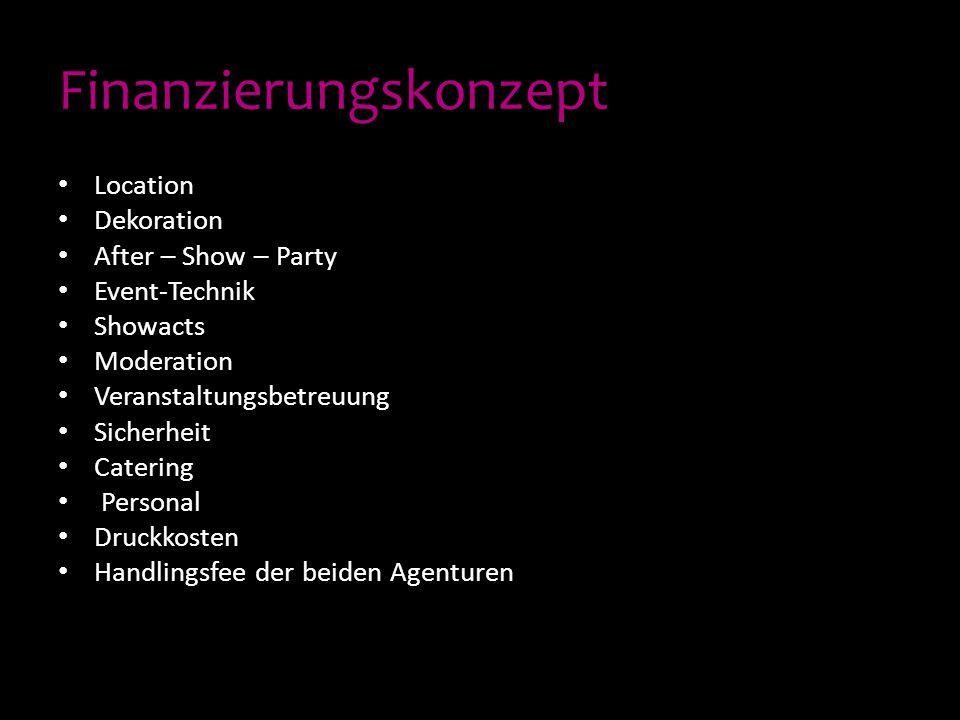 Finanzierungskonzept Location Dekoration After – Show – Party Event-Technik Showacts Moderation Veranstaltungsbetreuung Sicherheit Catering Personal D