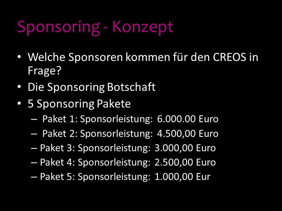 Sponsoring - Konzept Welche Sponsoren kommen für den CREOS in Frage? Die Sponsoring Botschaft 5 Sponsoring Pakete – Paket 1: Sponsorleistung: 6.000.00