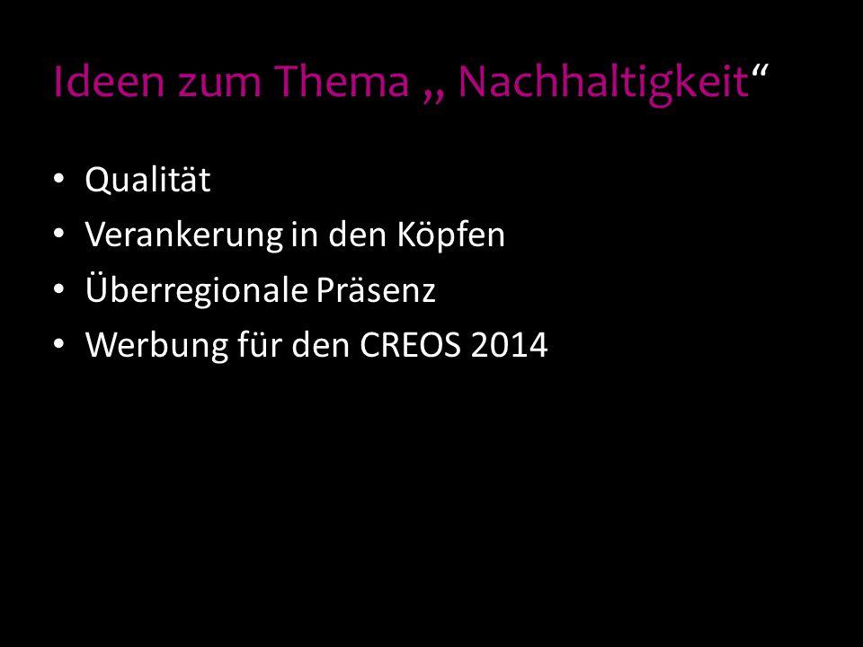 """Ideen zum Thema """" Nachhaltigkeit"""" Qualität Verankerung in den Köpfen Überregionale Präsenz Werbung für den CREOS 2014"""