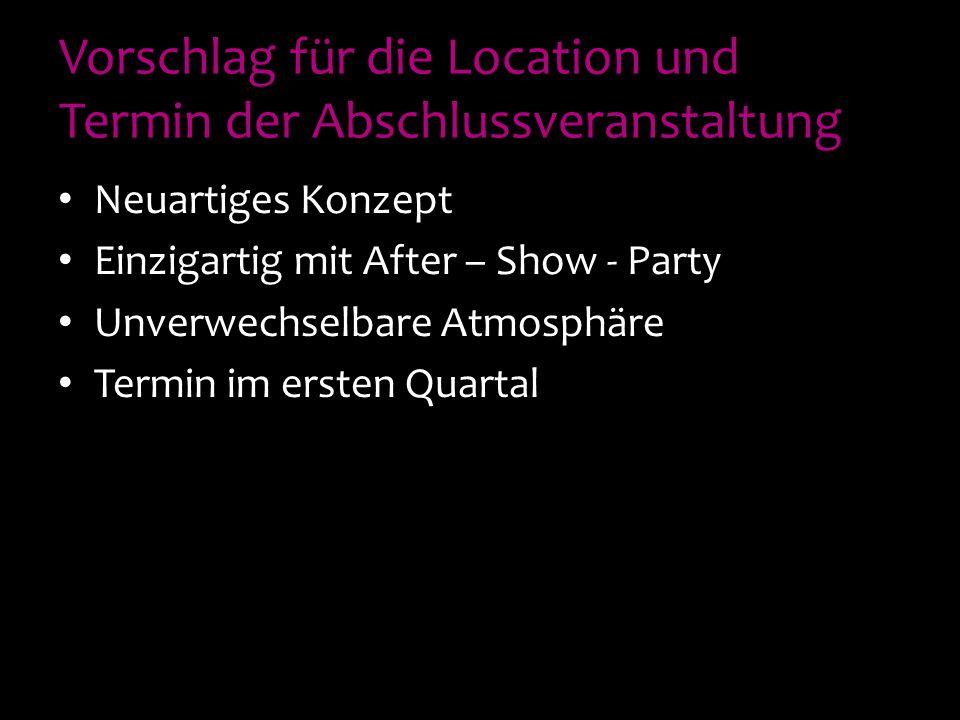 Vorschlag für die Location und Termin der Abschlussveranstaltung Neuartiges Konzept Einzigartig mit After – Show - Party Unverwechselbare Atmosphäre Termin im ersten Quartal