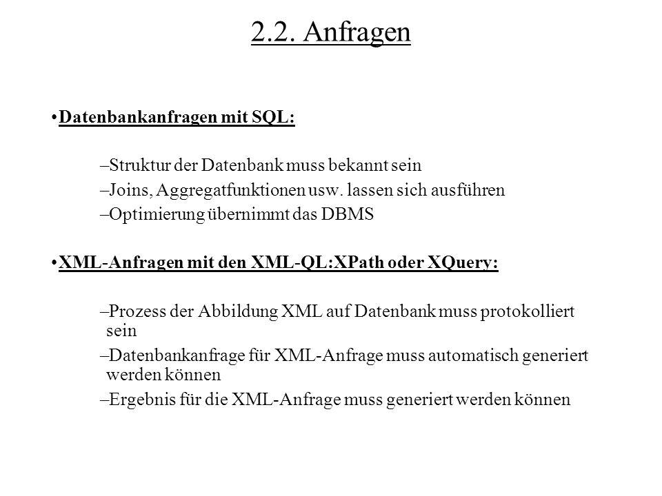 2.2. Anfragen Datenbankanfragen mit SQL: –Struktur der Datenbank muss bekannt sein –Joins, Aggregatfunktionen usw. lassen sich ausführen –Optimierung