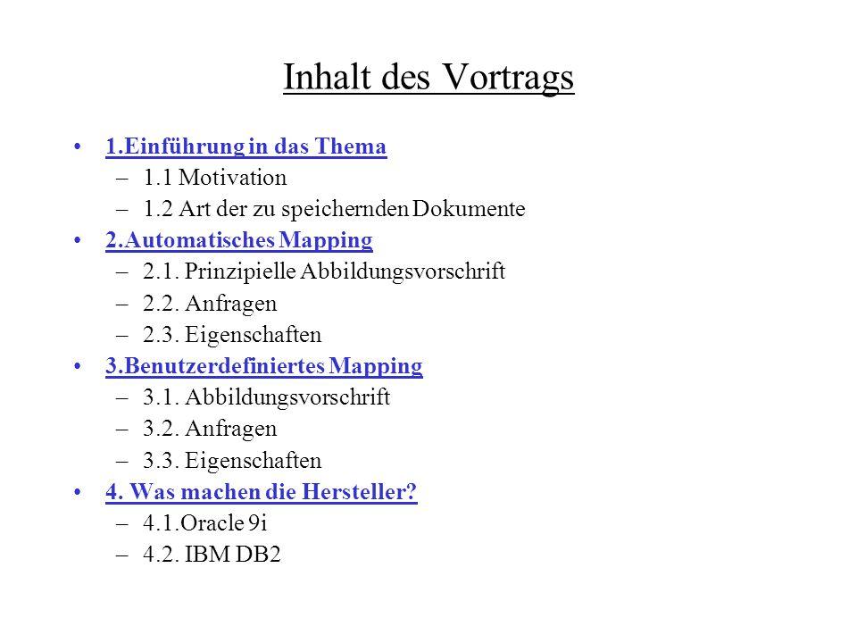 Inhalt des Vortrags 1.Einführung in das Thema –1.1 Motivation –1.2 Art der zu speichernden Dokumente 2.Automatisches Mapping –2.1.