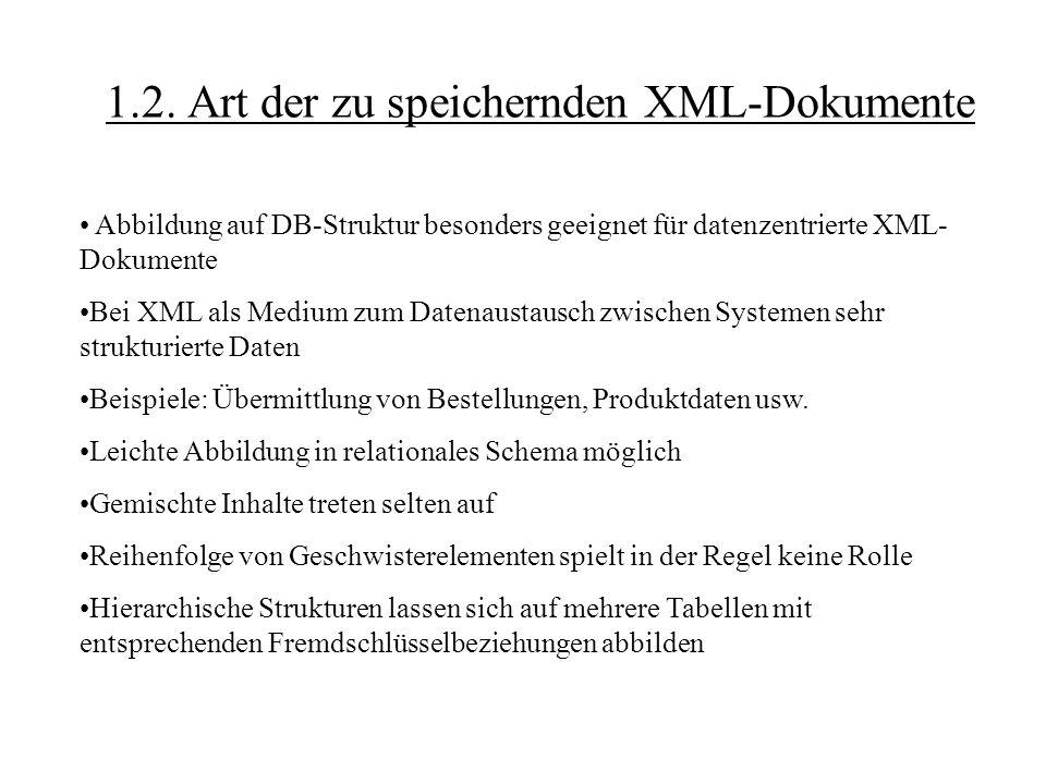 1.2. Art der zu speichernden XML-Dokumente Abbildung auf DB-Struktur besonders geeignet für datenzentrierte XML- Dokumente Bei XML als Medium zum Date