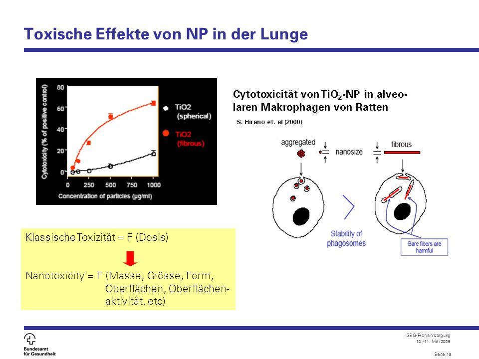 GSG-Frühjahrstagung 10./11. Mai 2006 Seite 18 Toxische Effekte von NP in der Lunge Klassische Toxizität = F (Dosis) Nanotoxicity = F (Masse, Grösse, F