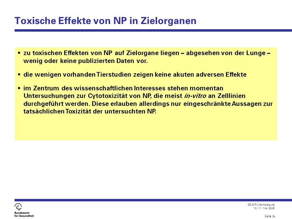 GSG-Frühjahrstagung 10./11. Mai 2006 Seite 24 Toxische Effekte von NP in Zielorganen zu toxischen Effekten von NP auf Zielorgane liegen – abgesehen vo