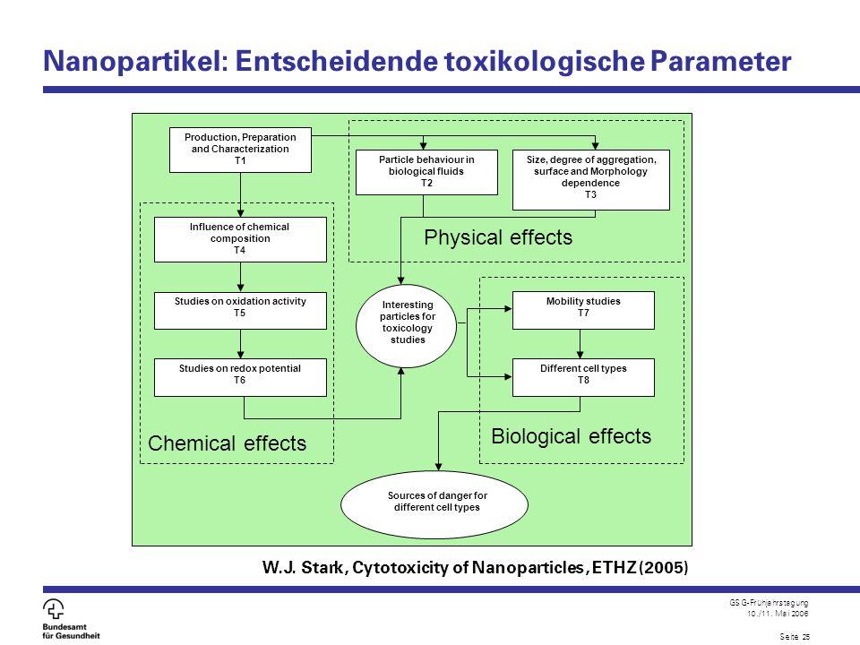 GSG-Frühjahrstagung 10./11. Mai 2006 Seite 25 Nanopartikel: Entscheidende toxikologische Parameter Particle behaviour in biological fluids T2 Influenc