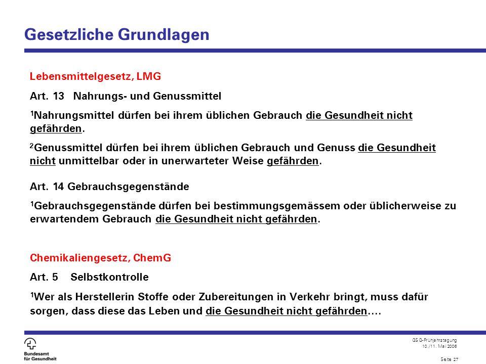 GSG-Frühjahrstagung 10./11. Mai 2006 Seite 27 Gesetzliche Grundlagen Lebensmittelgesetz, LMG Art. 13 Nahrungs- und Genussmittel 1 Nahrungsmittel dürfe