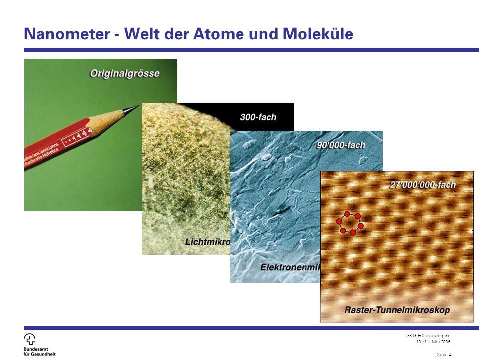 GSG-Frühjahrstagung 10./11.Mai 2006 Seite 5 Nanotechnologien: Zukunft oder Vision.