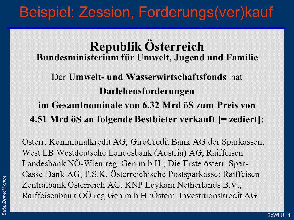 SoWi Ü - 1 Barta: Zivilrecht online Beispiel: Zession, Forderungs(ver)kauf Republik Österreich Bundesministerium für Umwelt, Jugend und Familie Der Um