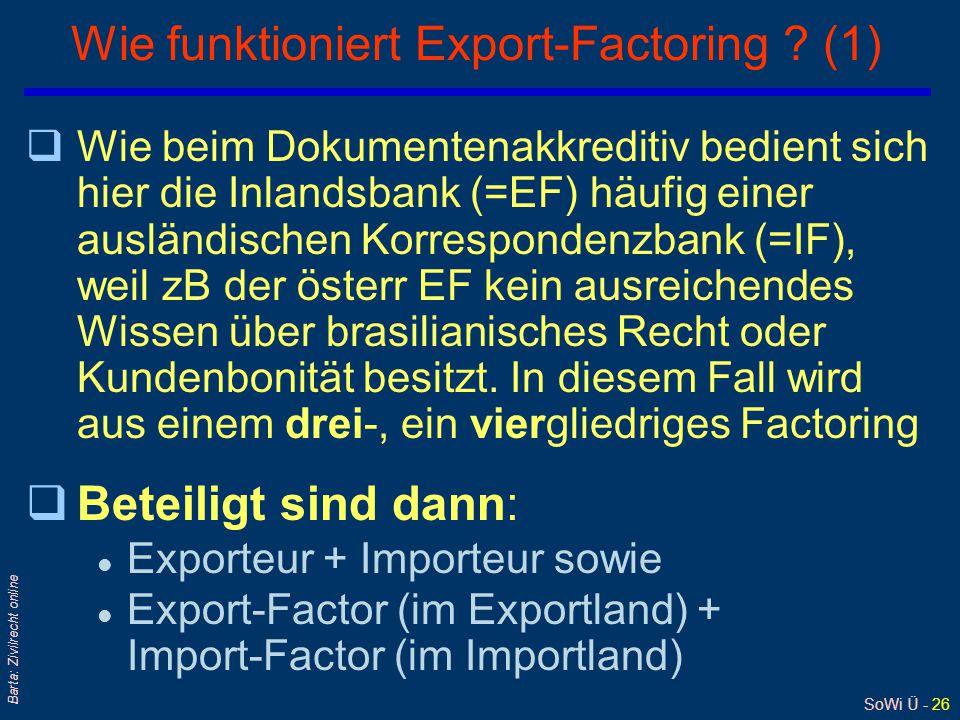 SoWi Ü - 26 Barta: Zivilrecht online Wie funktioniert Export-Factoring ? (1) qWie beim Dokumentenakkreditiv bedient sich hier die Inlandsbank (=EF) hä