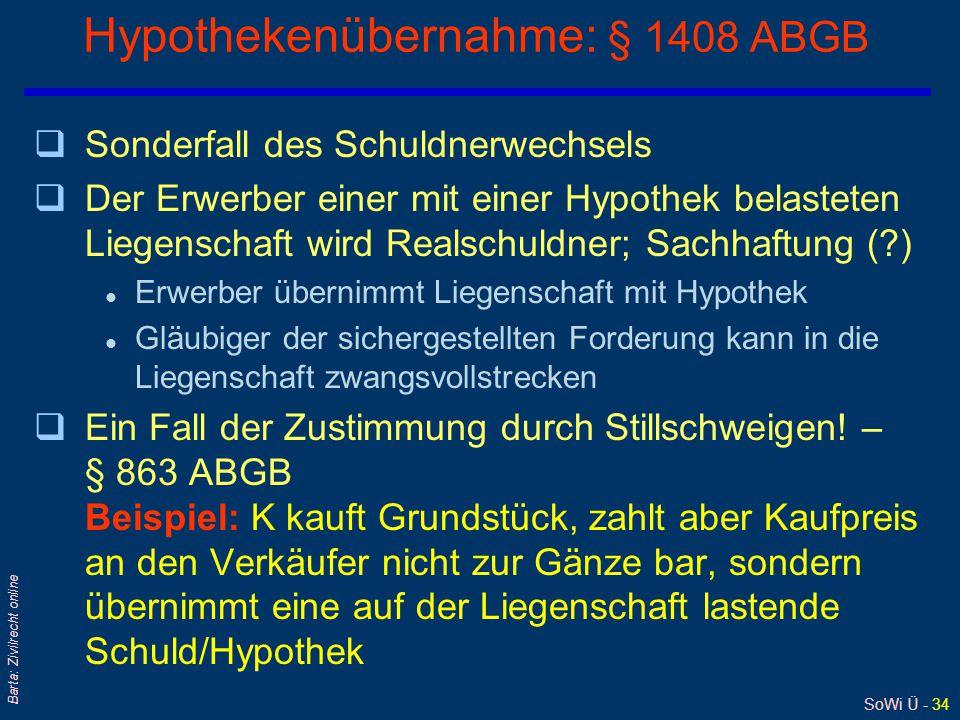 SoWi Ü - 34 Barta: Zivilrecht online Hypothekenübernahme: § 1408 ABGB qSonderfall des Schuldnerwechsels qDer Erwerber einer mit einer Hypothek belasteten Liegenschaft wird Realschuldner; Sachhaftung (?) l Erwerber übernimmt Liegenschaft mit Hypothek l Gläubiger der sichergestellten Forderung kann in die Liegenschaft zwangsvollstrecken qEin Fall der Zustimmung durch Stillschweigen.
