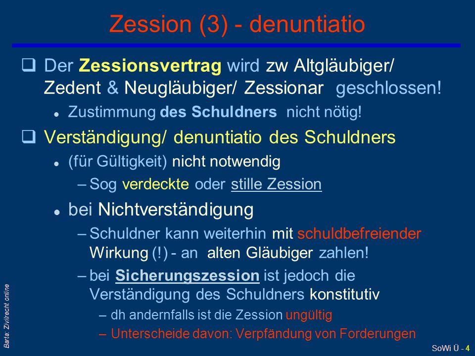 SoWi Ü - 4 Barta: Zivilrecht online Zession (3) - denuntiatio qDer Zessionsvertrag wird zw Altgläubiger/ Zedent & Neugläubiger/ Zessionar geschlossen.