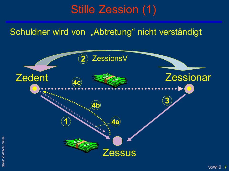 """SoWi Ü - 7 Barta: Zivilrecht online Stille Zession (1) Zedent Zessionar Zessus Schuldner wird von """"Abtretung nicht verständigt ZessionsV 1 2 3 4a 4b 4c"""