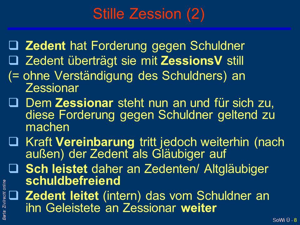 SoWi Ü - 9 Barta: Zivilrecht online Inkassozession: § 247 GewO 1994 Gläubiger Zedent Inkassobüro Zessionar Schuldner Zessus Inkasso-ZessionsV 1 2 3a 3b