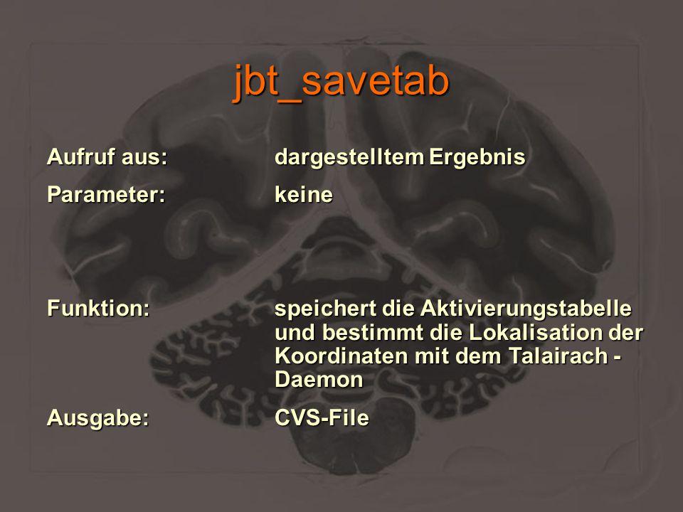 jbt_savetab Aufruf aus:dargestelltem Ergebnis Parameter:keine Funktion:speichert die Aktivierungstabelle und bestimmt die Lokalisation der Koordinaten