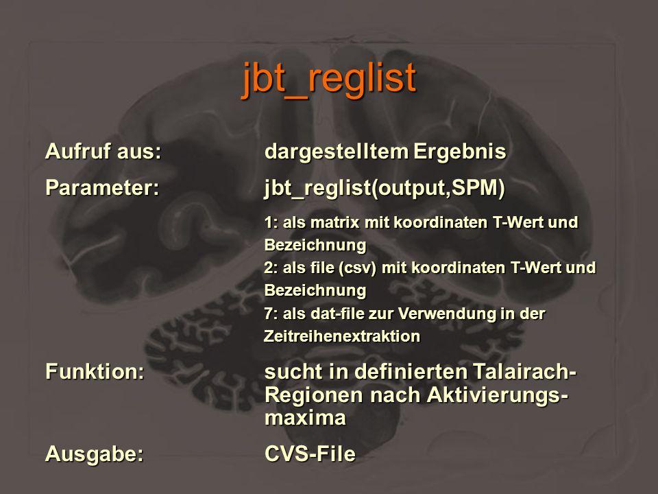 jbt_reglist Aufruf aus:dargestelltem Ergebnis Parameter:jbt_reglist(output,SPM) 1: als matrix mit koordinaten T-Wert und Bezeichnung 2: als file (csv)