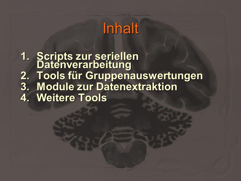 Inhalt 1.Scripts zur seriellen Datenverarbeitung 2.Tools für Gruppenauswertungen 3.Module zur Datenextraktion 4.Weitere Tools