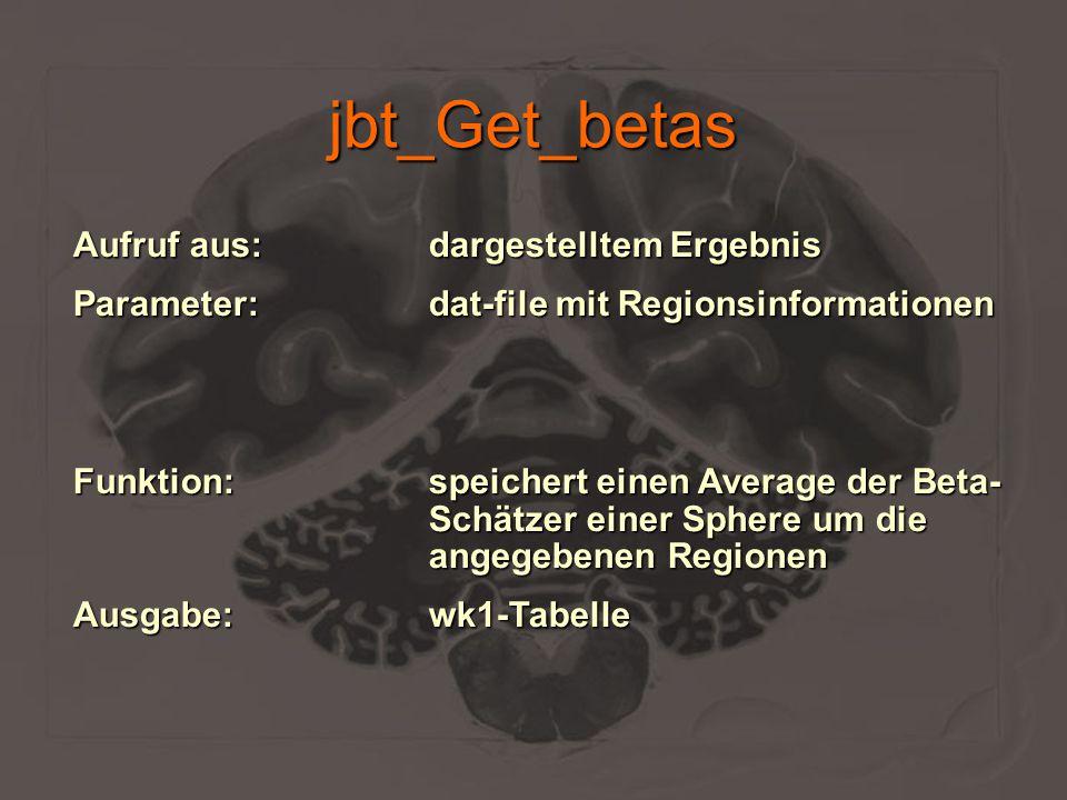 jbt_Get_betas Aufruf aus:dargestelltem Ergebnis Parameter:dat-file mit Regionsinformationen Funktion:speichert einen Average der Beta- Schätzer einer