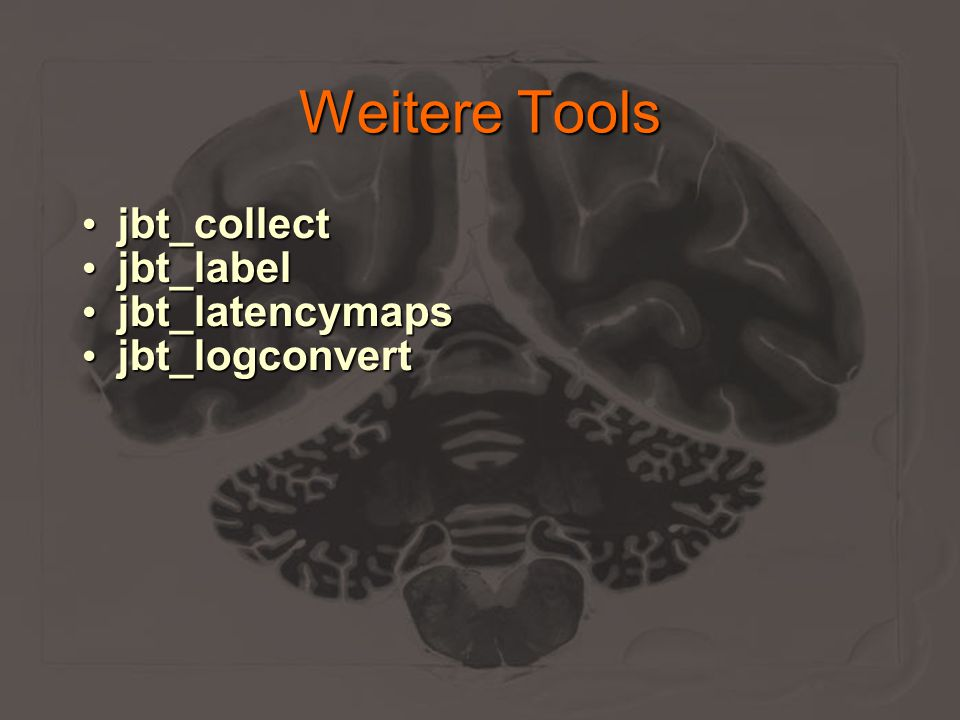 Weitere Tools jbt_collect jbt_collect jbt_label jbt_label jbt_latencymaps jbt_latencymaps jbt_logconvert jbt_logconvert